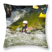 Two Kayakers On A Fast River Throw Pillow