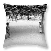 Two Kids In Paris Throw Pillow