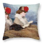 Two Ladies In A Carriage Ride Throw Pillow