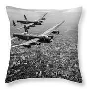 Two Lancasters Over London Black And White Version Throw Pillow