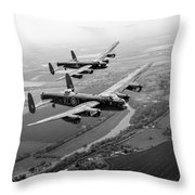 Two Lancasters Over The Upper Thames Black And White Version Throw Pillow
