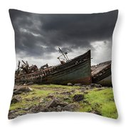 Two Large Boats Abandoned On The Shore Throw Pillow