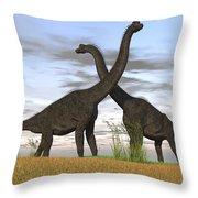 Two Large Brachiosaurus In Prehistoric Throw Pillow by Kostyantyn Ivanyshen
