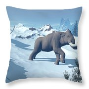 Two Large Mammoths Walking Slowly Throw Pillow by Elena Duvernay
