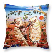 Two Laughing Kookaburras In The Outback Australia Throw Pillow