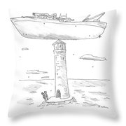 Two Lighthouse Keepers Look Up At A Boat That Throw Pillow