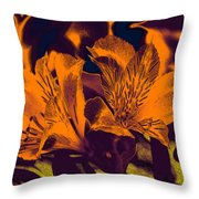 Two Lilies Gradient Ink Outline Throw Pillow