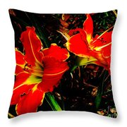 Two Lilies Throw Pillow