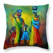 Two Little Girls Carrying Water Throw Pillow
