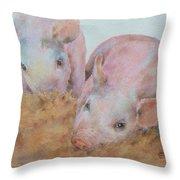 Two Little Piggies Throw Pillow