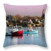 Two Lobster Boats On Marblehead Harbor With A Red Sky Throw Pillow