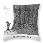 Two Lumberjacks With Axes Stare Up At A Giant Throw Pillow