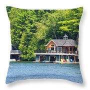 Two Luxury Boathouses Throw Pillow