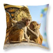 Two Macaques On Top Of Chorten Throw Pillow
