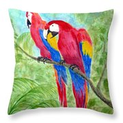 Two Macaws Throw Pillow