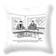 Two Mafiosos Sit At A Bar Smoking Throw Pillow