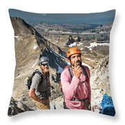 Two Male Hiker Stop To Look Throw Pillow