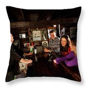 Two Men And Two Women Having Beer Throw Pillow