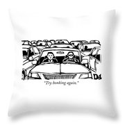Two Men In A Car Are Stuck In Traffic Throw Pillow