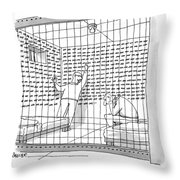Two Men In A Jail Cell. One Is Examining A Wall Throw Pillow