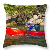 Two Men In A Tandem Canoe Throw Pillow