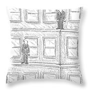 Two Men On Different Ledges Of A Building Throw Pillow