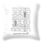 Two Men On Different Ledges Of A Building Throw Pillow by Robert Mankoff