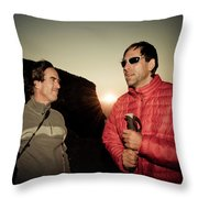 Two Men Share Stories As The Sun Sets Throw Pillow