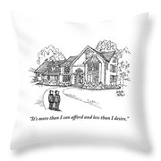 Two Men Stand Looking At A Large House Throw Pillow