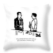 Two Men Talk In A Bar Throw Pillow