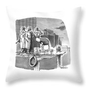 Two Mobsters Stand Behind An Ostrich Throw Pillow