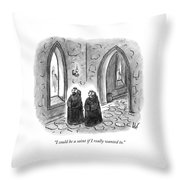 Two Monks Walk Through A Monastery Throw Pillow