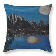 Two Moons That Meet In The Night Throw Pillow