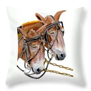 Two Mules - Enhanced Color - Farmer's Friend Throw Pillow
