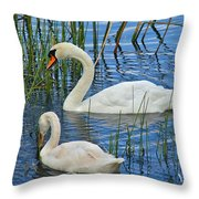 Two Mute Swans Throw Pillow