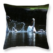 Two Mute Swans With Young Cygnus Olor Throw Pillow