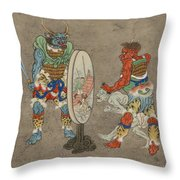 Two Mythological Buddhist Or Hindu Figures Circa 1878 Throw Pillow by Aged Pixel