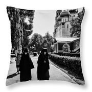 Two Nuns- Black And White - Novodevichy Convent - Russia Throw Pillow