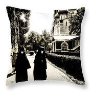 Two Nuns - Sepia - Novodevichy Convent - Russia Throw Pillow