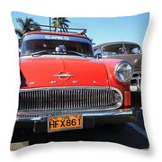 Two Old American Cars Throw Pillow