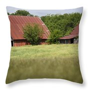 Two Old Barns Throw Pillow
