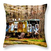 Two Old Cabooses Throw Pillow