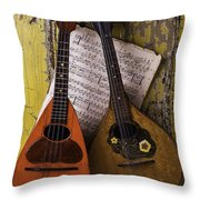 Two Old Mandolins Throw Pillow