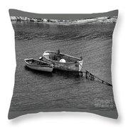 Two Old Rowboats Throw Pillow
