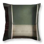 Two Open Doors In An Eerie Creepy House Leading To A Red Stairca Throw Pillow