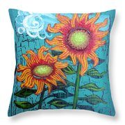 Two Orange Sunflowers Throw Pillow