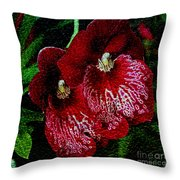 Two Orchids Throw Pillow by Elizabeth Winter
