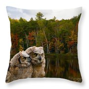Two Owlets At A Lakeshore Throw Pillow
