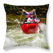 Two Paddlers In A Whitewater Canoe Making A Turn Throw Pillow