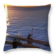 Two Paddlers In Sea Kayaks At Sunrise Throw Pillow